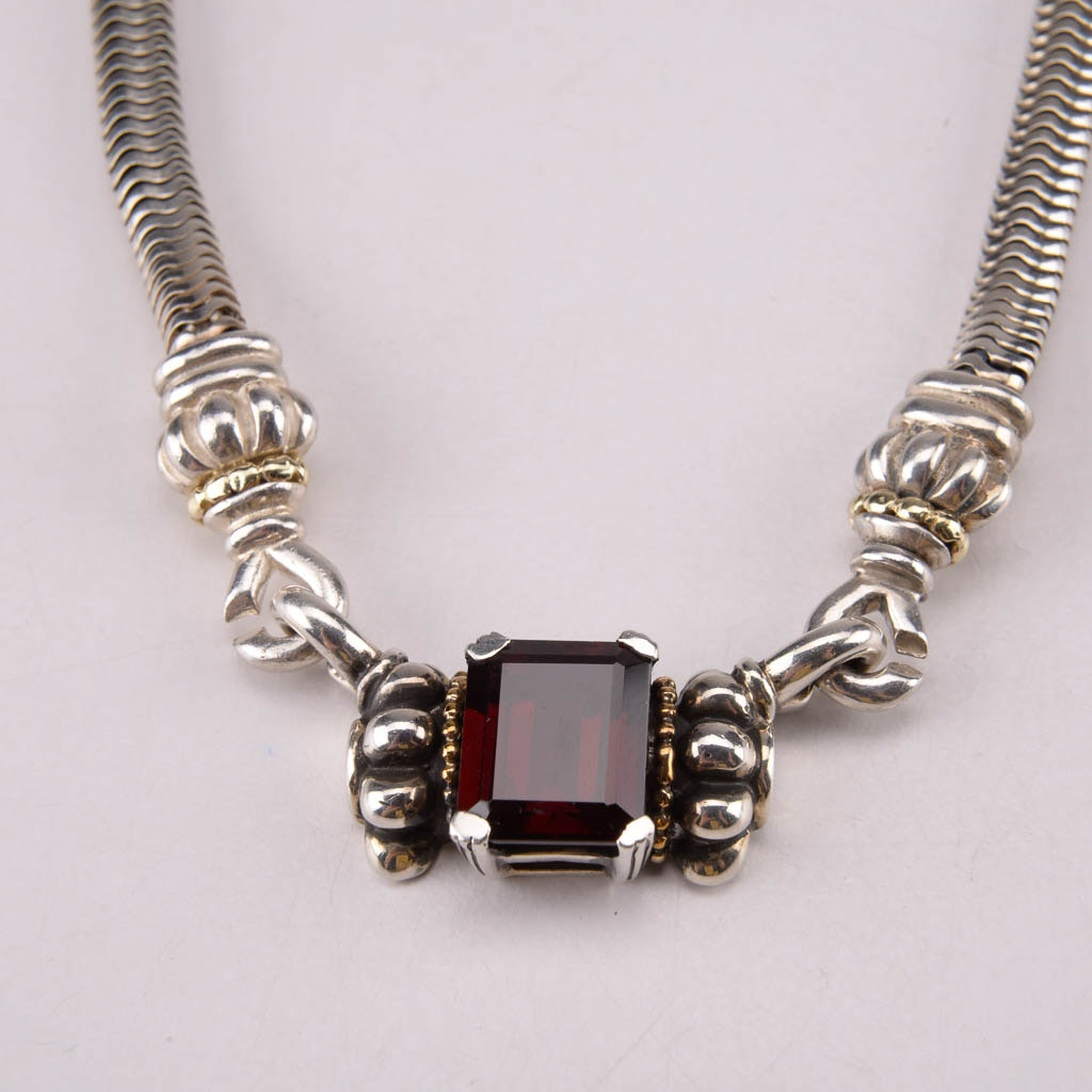 Lagos Caviar Sterling Silver and 18K Yellow Gold Necklace With Removable Garnet Pendant