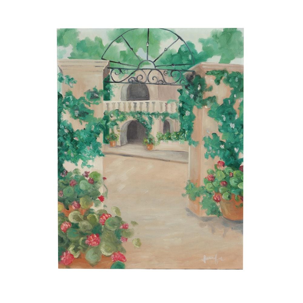"Jennifer Krentz Oil Painting on Canvas ""Patio"""