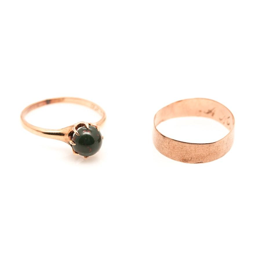 Vintage 9K Cigar Band Ring and 10K Bloodstone Ring