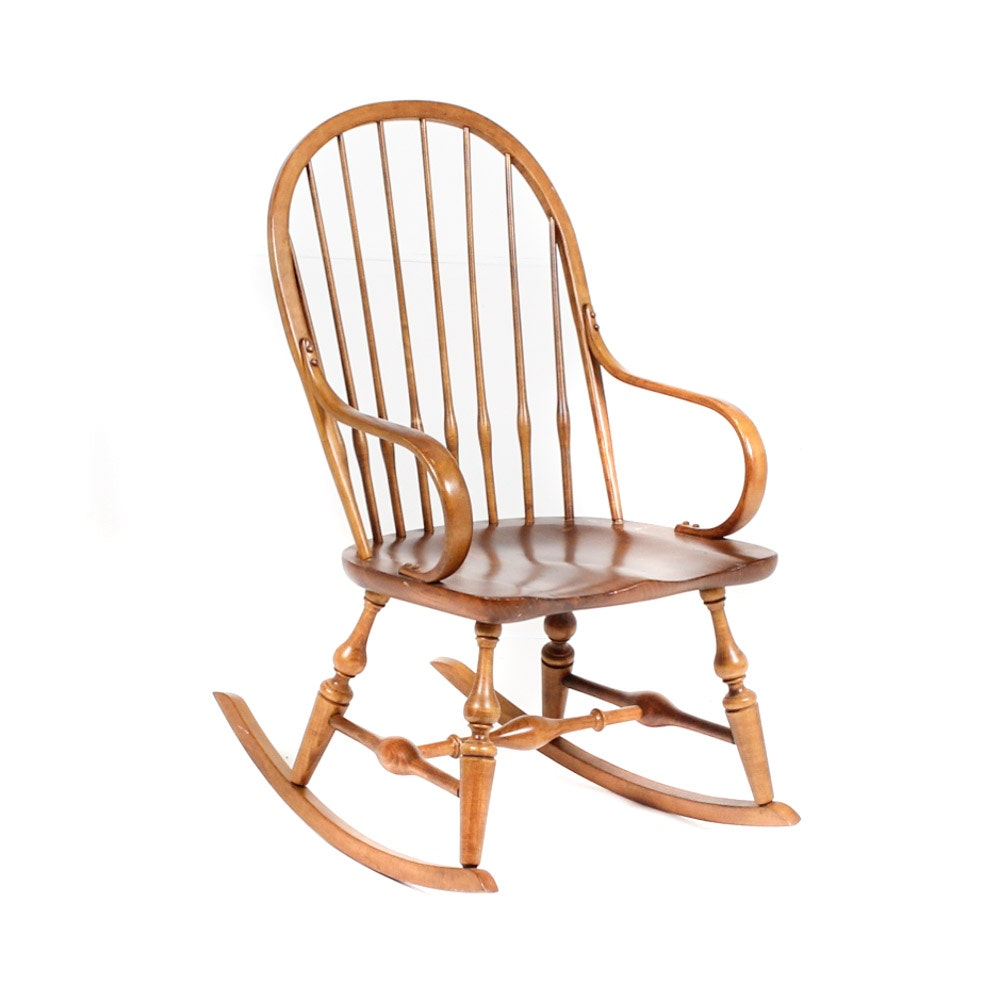 Ethan Allen Windsor Style Wooden Rocking Chair