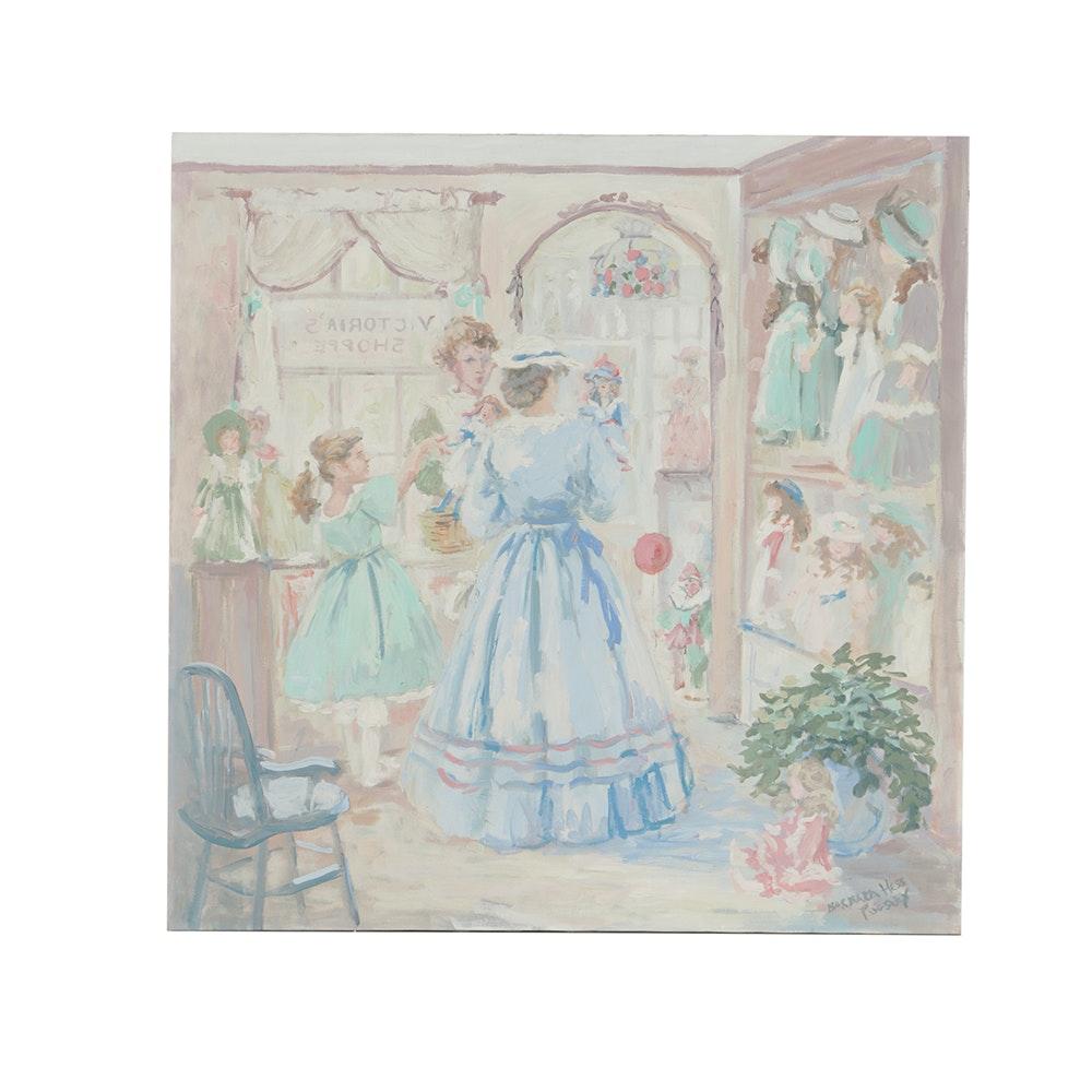 Barbara Hess Pugsley Oil Painting on Canvas Interior Scene