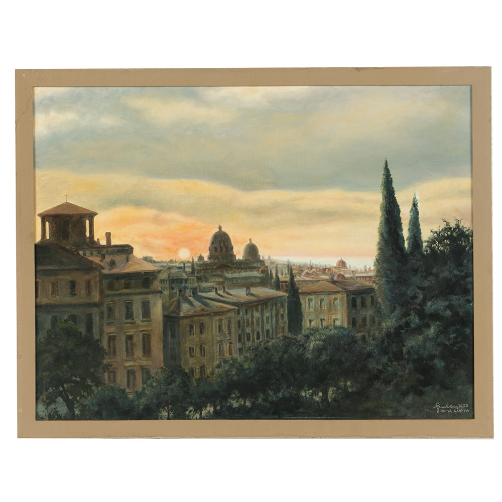"E. Gruber Oil Painting on Canvas ""Roma Sancta"""