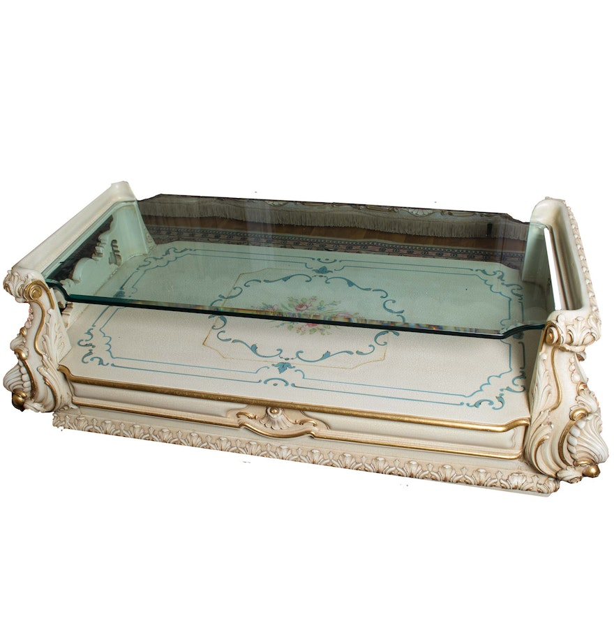 Rococo style hand painted coffee table ebth rococo style hand painted coffee table geotapseo Image collections