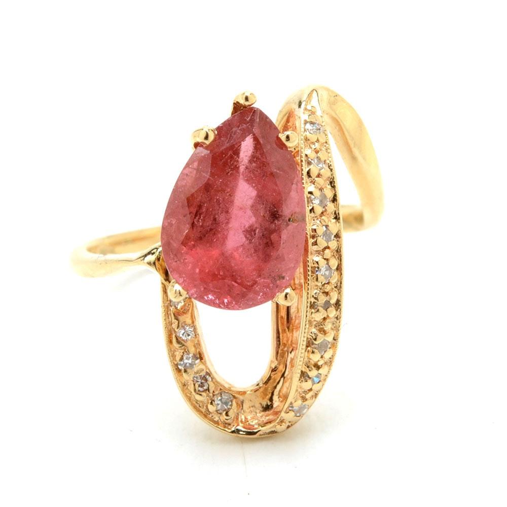 14K Yellow Gold Pink Tourmaline Diamond Statement Ring
