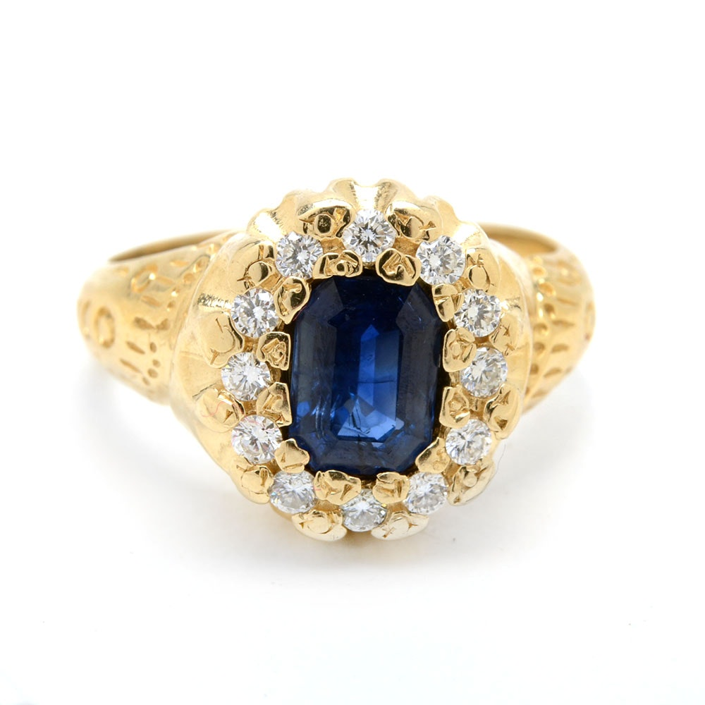 14K Yellow Gold Natural Sapphire and Diamond Ring