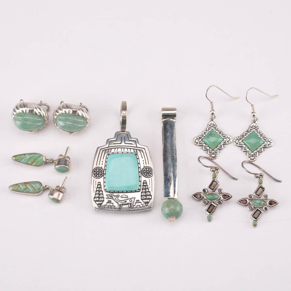 Sterling Silver Stone Jewelry Including Carol Felley