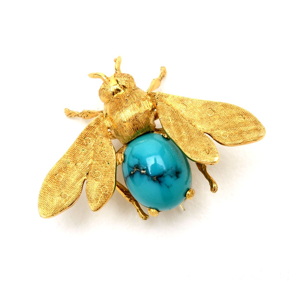 18K Yellow Gold Turquoise Bee Brooch