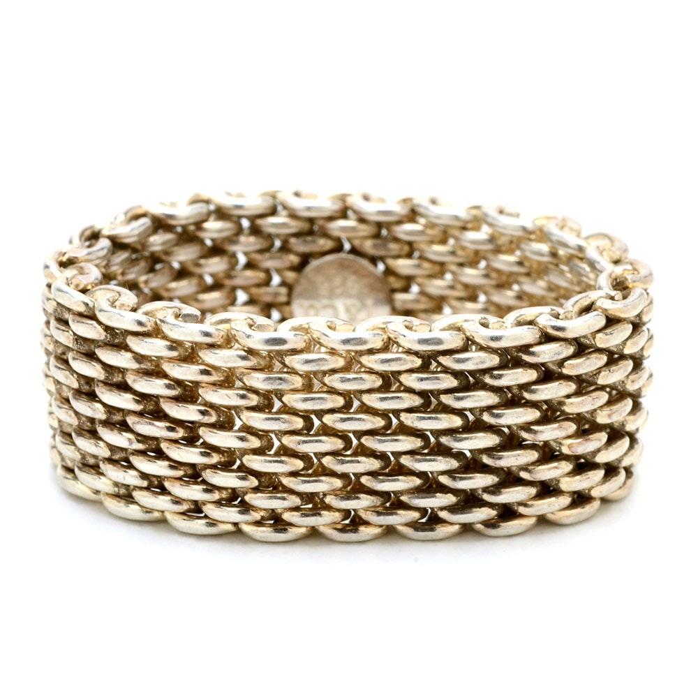 "Tiffany & Company Sterling Silver ""Somerset"" Mesh Ring"