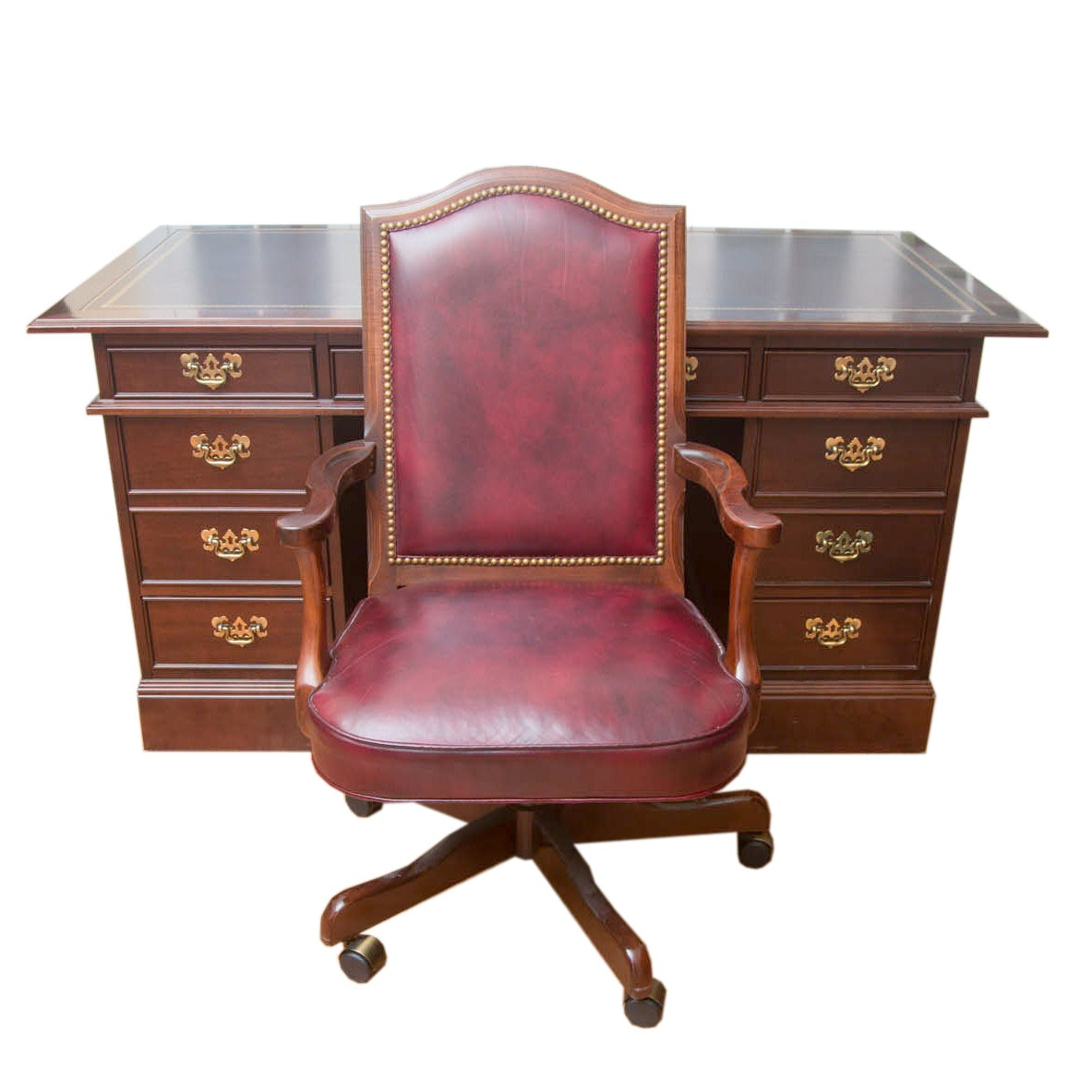 Vintage Chippendale Style Mahogany Executive Desk by Sligh With Chair