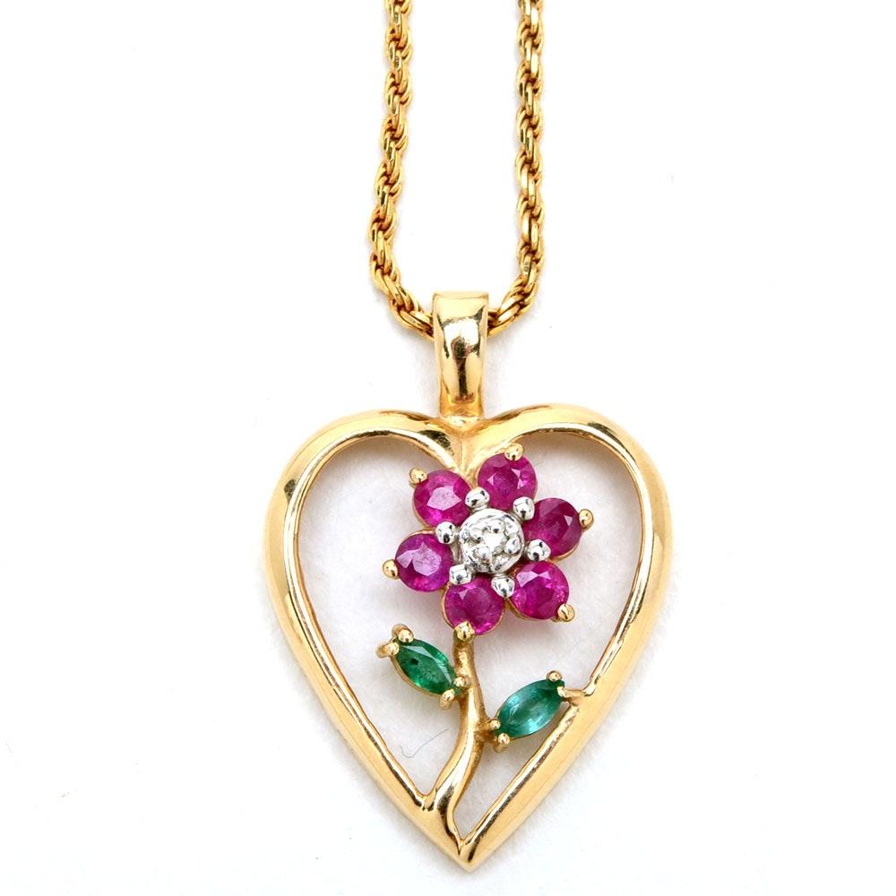 14K Yellow Gold Diamond, Ruby, Emerald Flower Heart Necklace
