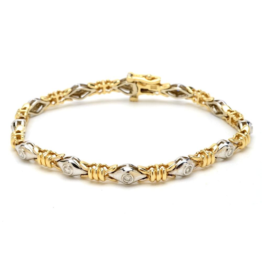 14K Two Tone Gold Diamond Linked Bracelet