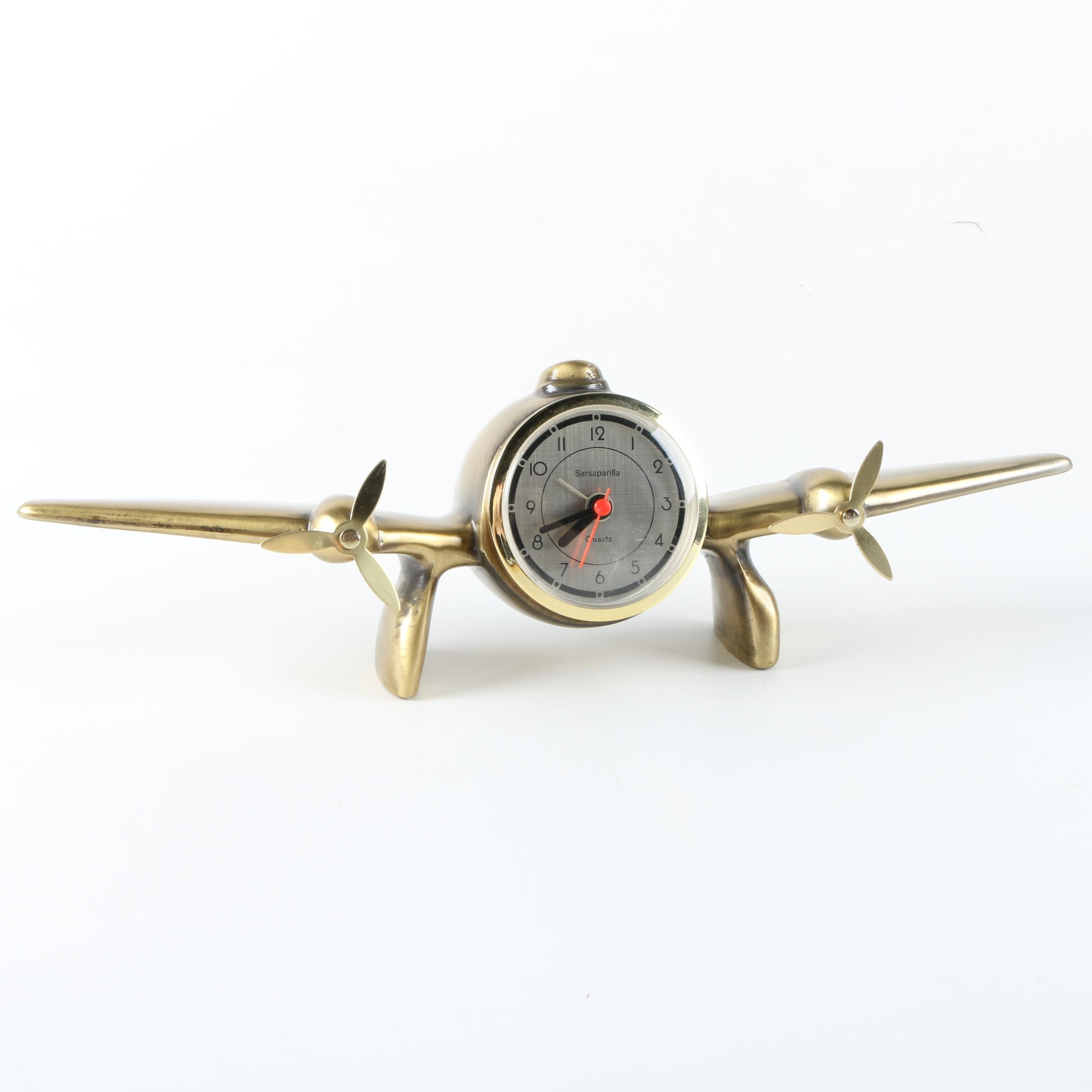 Sarsparilla Brass Airplane Clock
