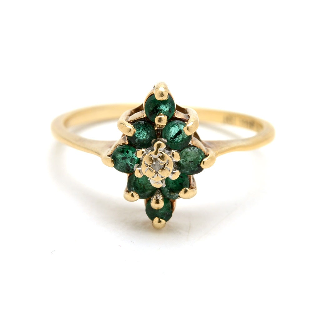 10K Yellow Gold Diamond Natural Emerald Cluster Ring
