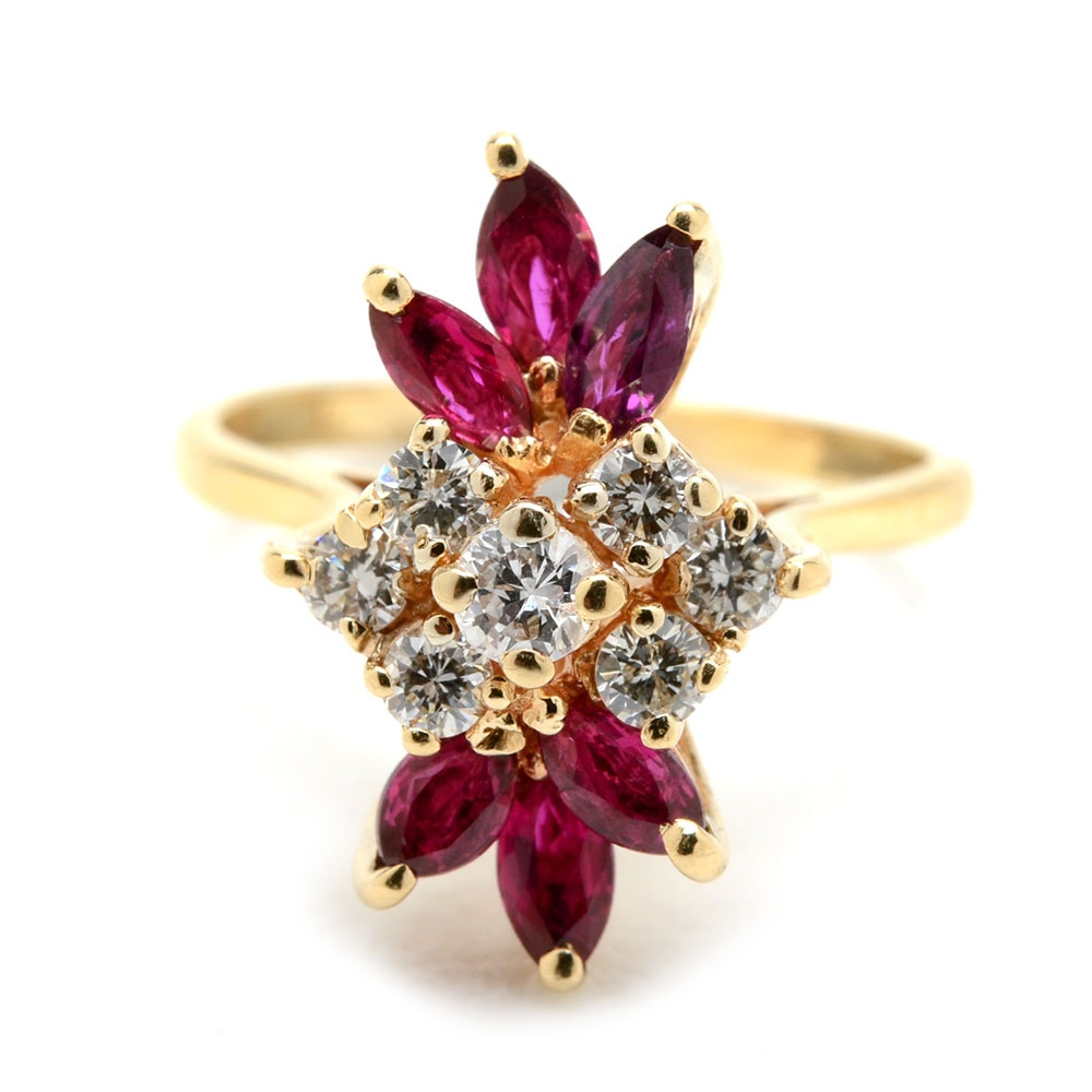 14K Yellow Gold Diamond Ruby Cluster Ring