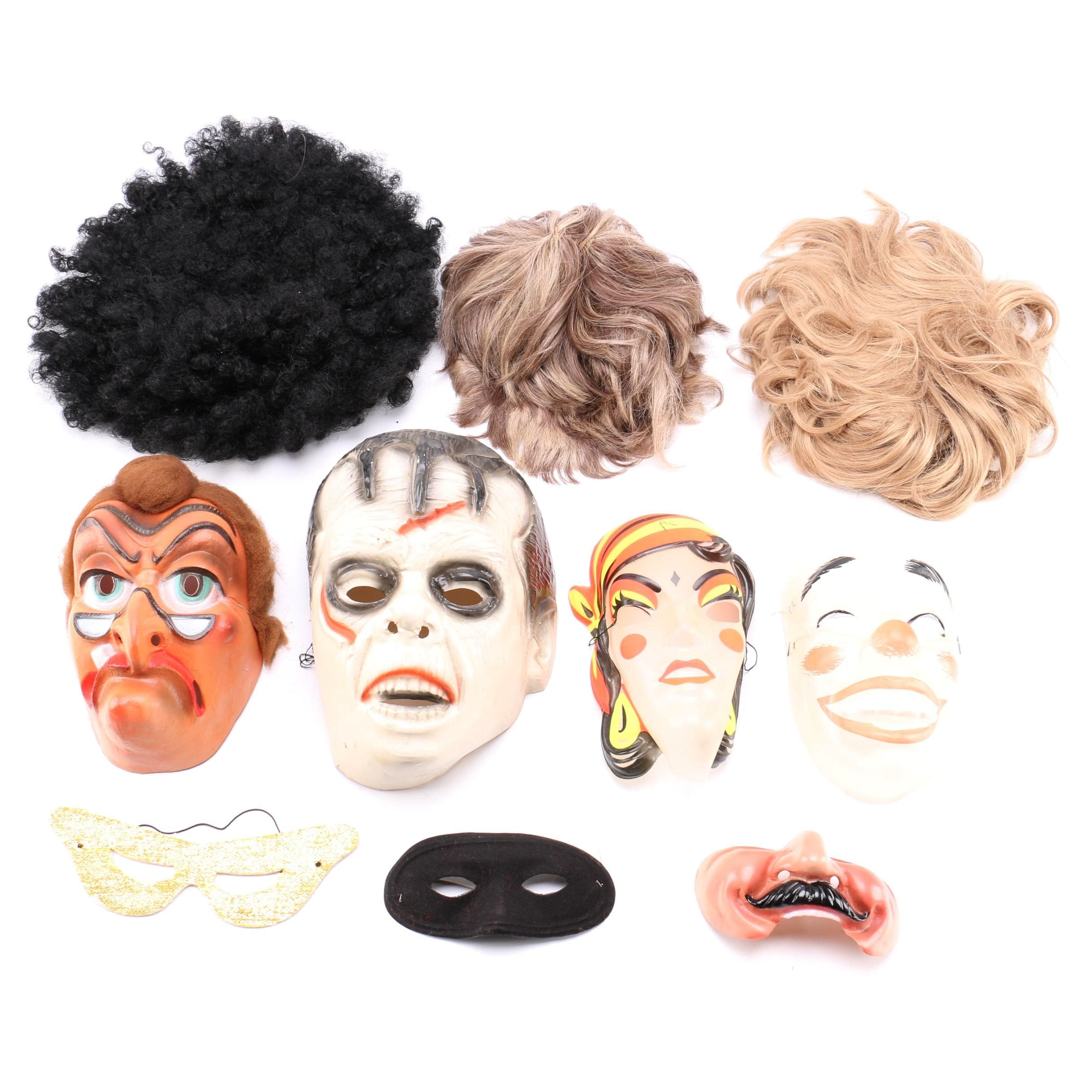 Vintage Halloween Masks and Wigs