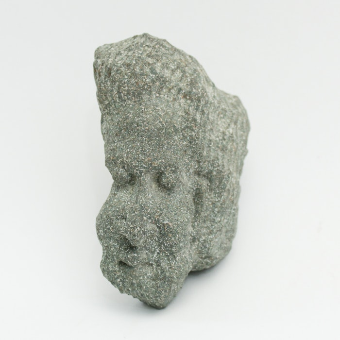 Artist Signed Stone Head Sculpture