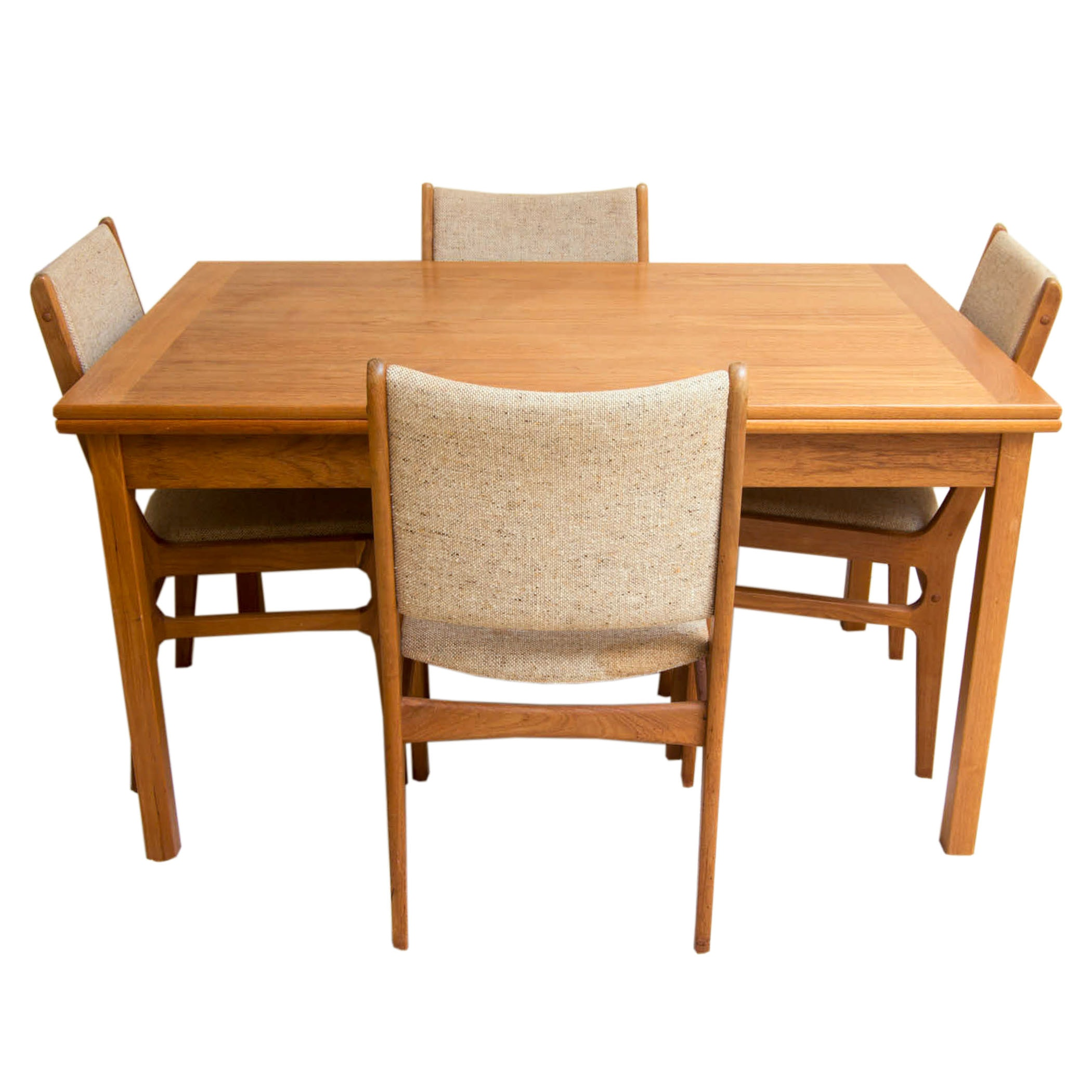 Mid Century Modern Teak Chairs by D-Scan With Dining Table