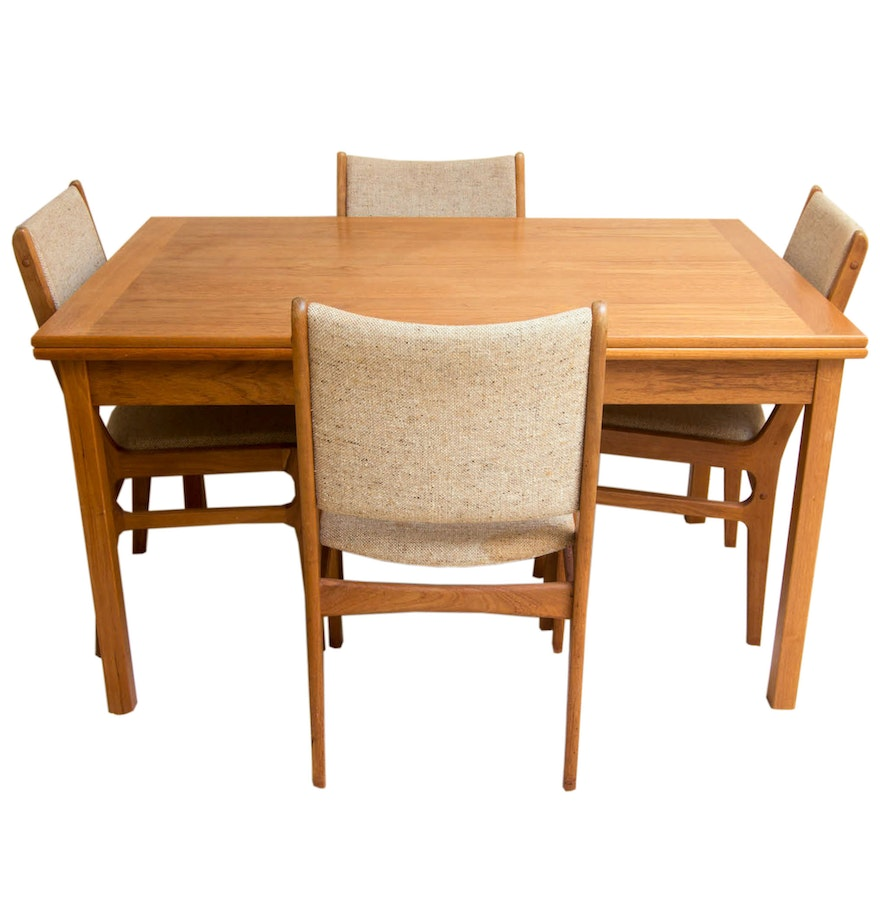 Danish Modern Teak Chairs by D Scan With Dining Table. Danish Modern Teak Chairs by D Scan With Dining Table   EBTH