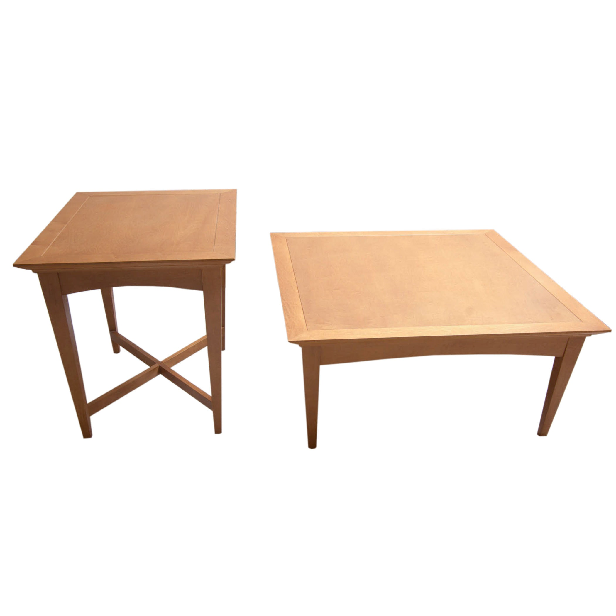 Contemporary Oak Coffee Table and Side Table