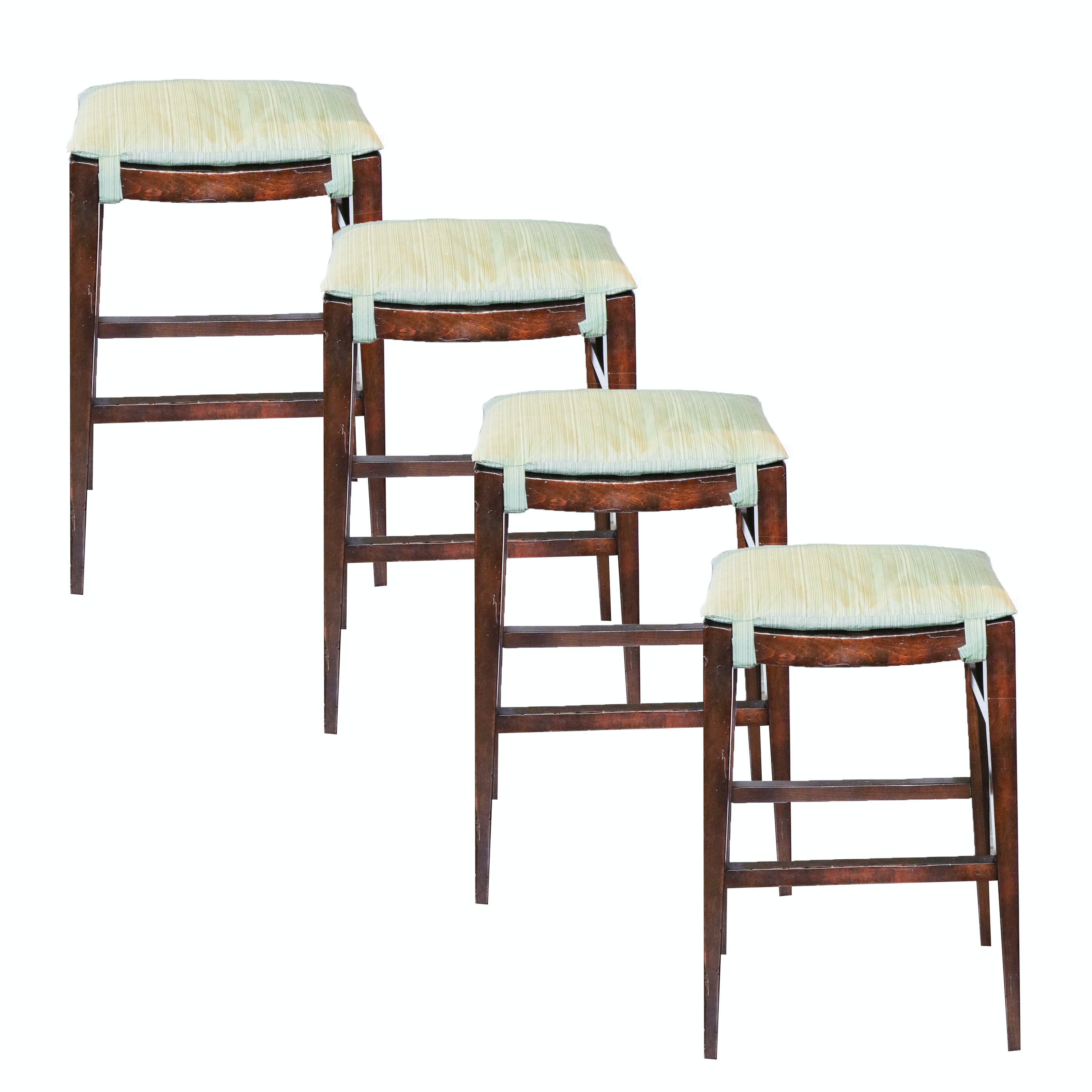 Wooden Bar Stools with Removable Seat Cushions