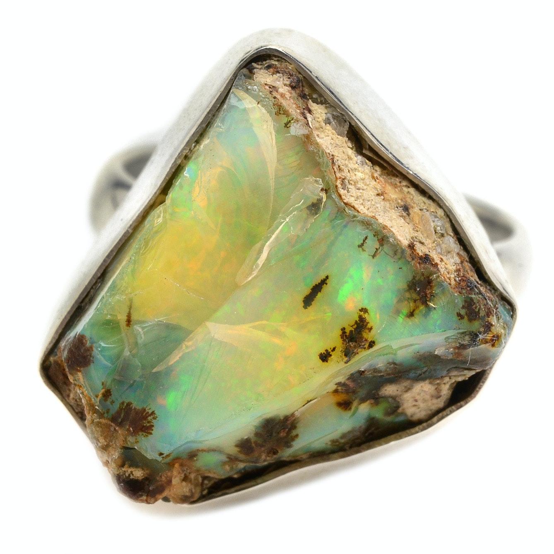 Sterling Silver Boulder Opal Statement Ring