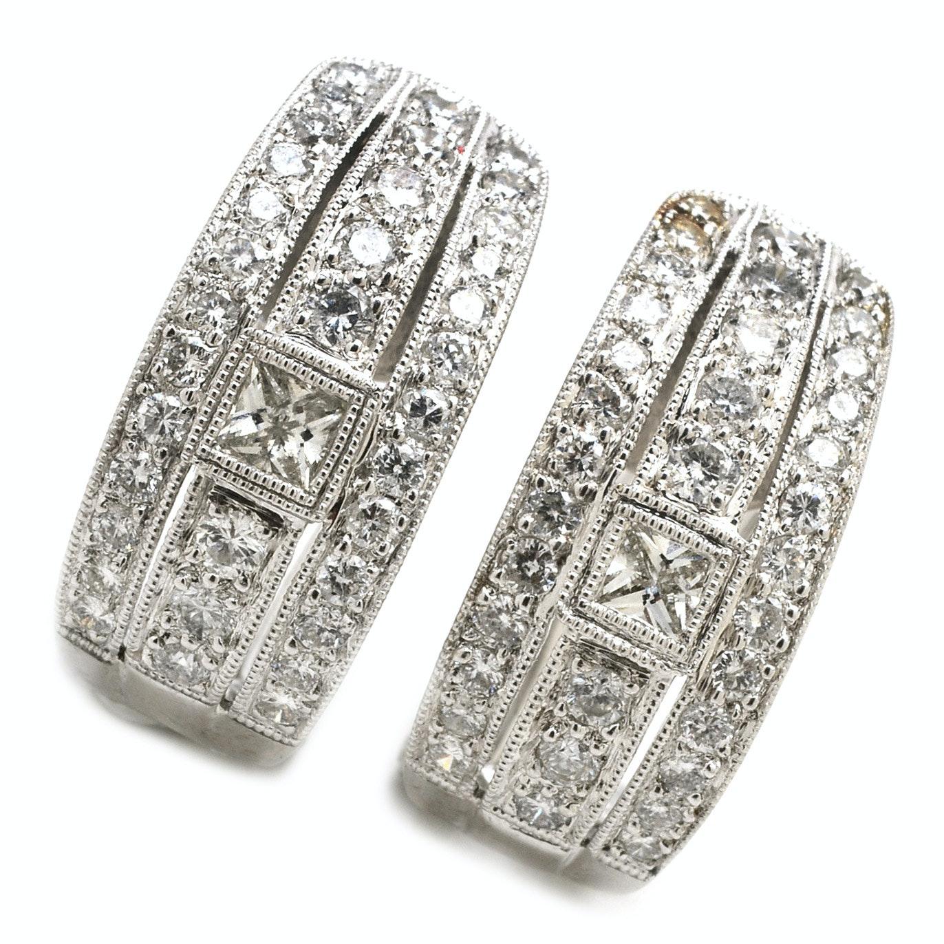 Pair of 14K White Gold 1.68 CTW Diamond Half-Hoop Earrings