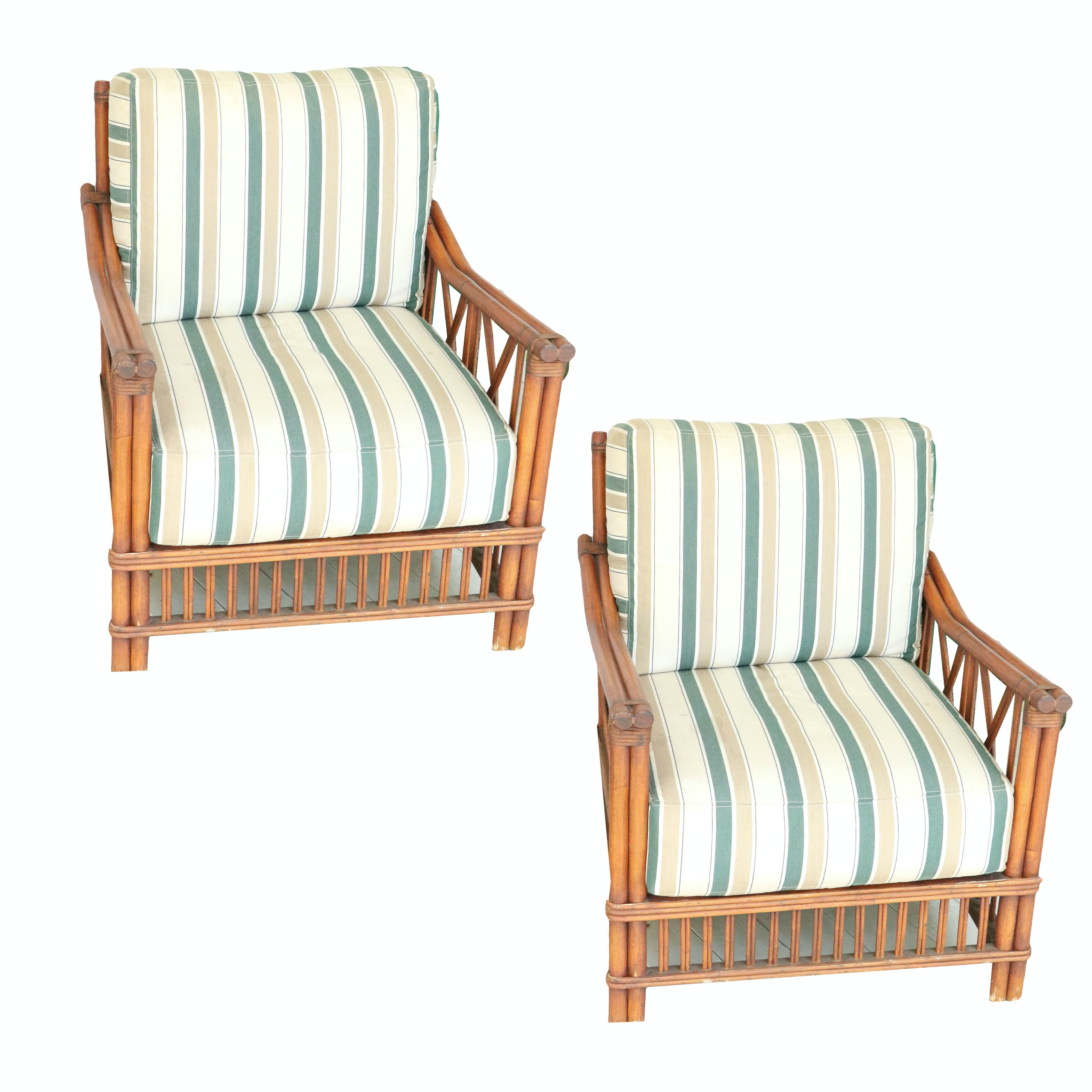 Rattan Patio Armchairs with Back and Seat Cushions