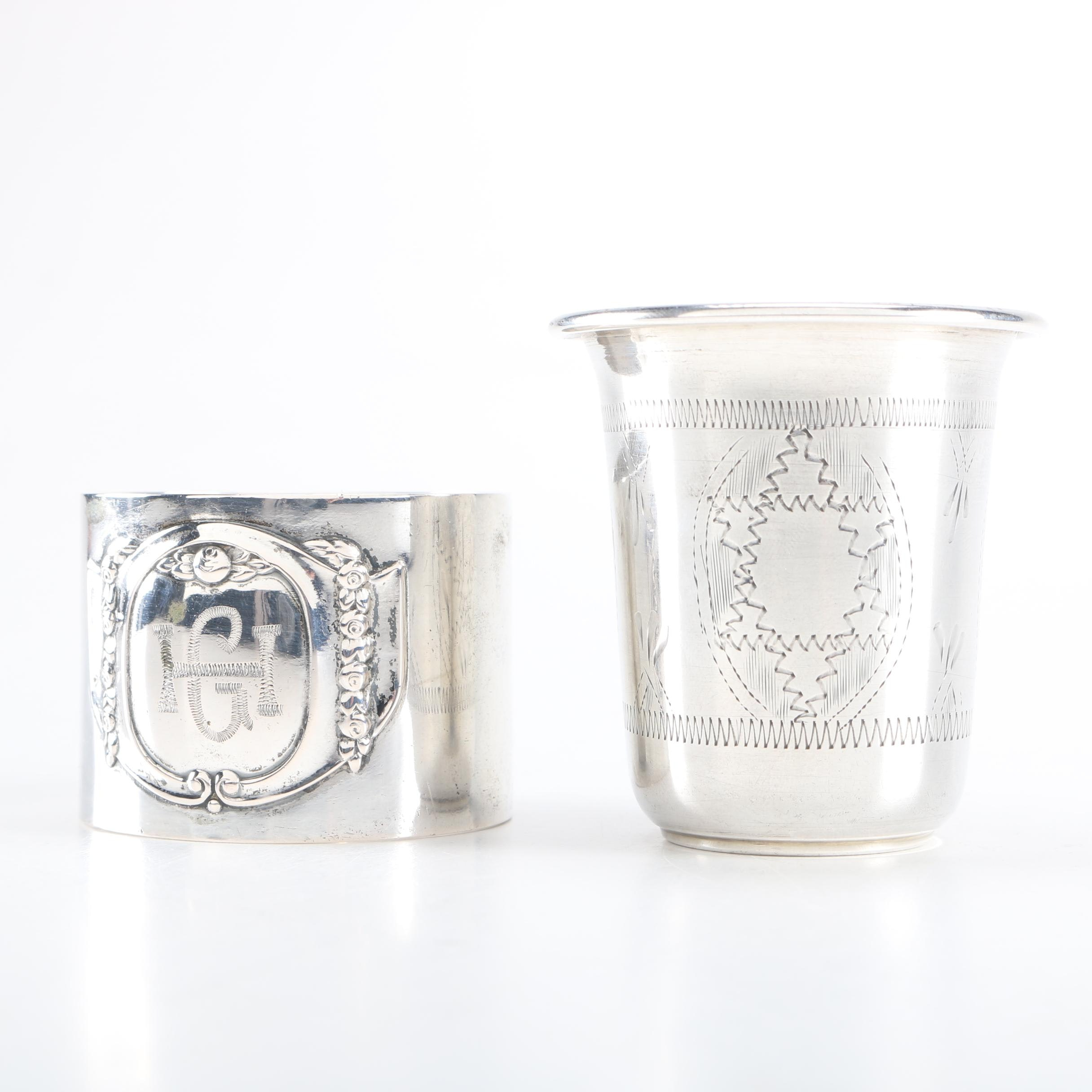 Sterling Silver Cup and 800 Silver Napkin Ring