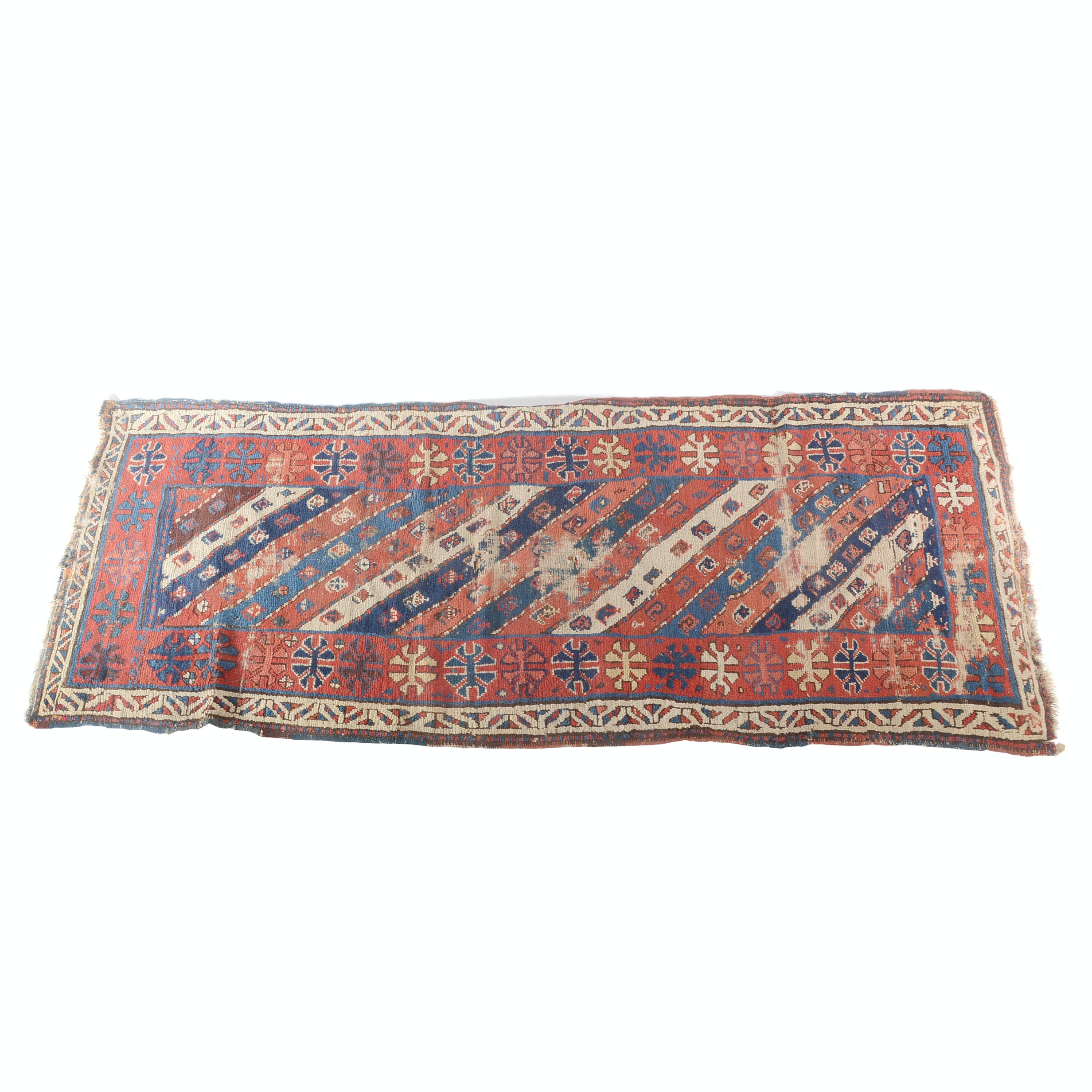 Semi-Antique Caucasian Hand Knotted Wool Runner Rug
