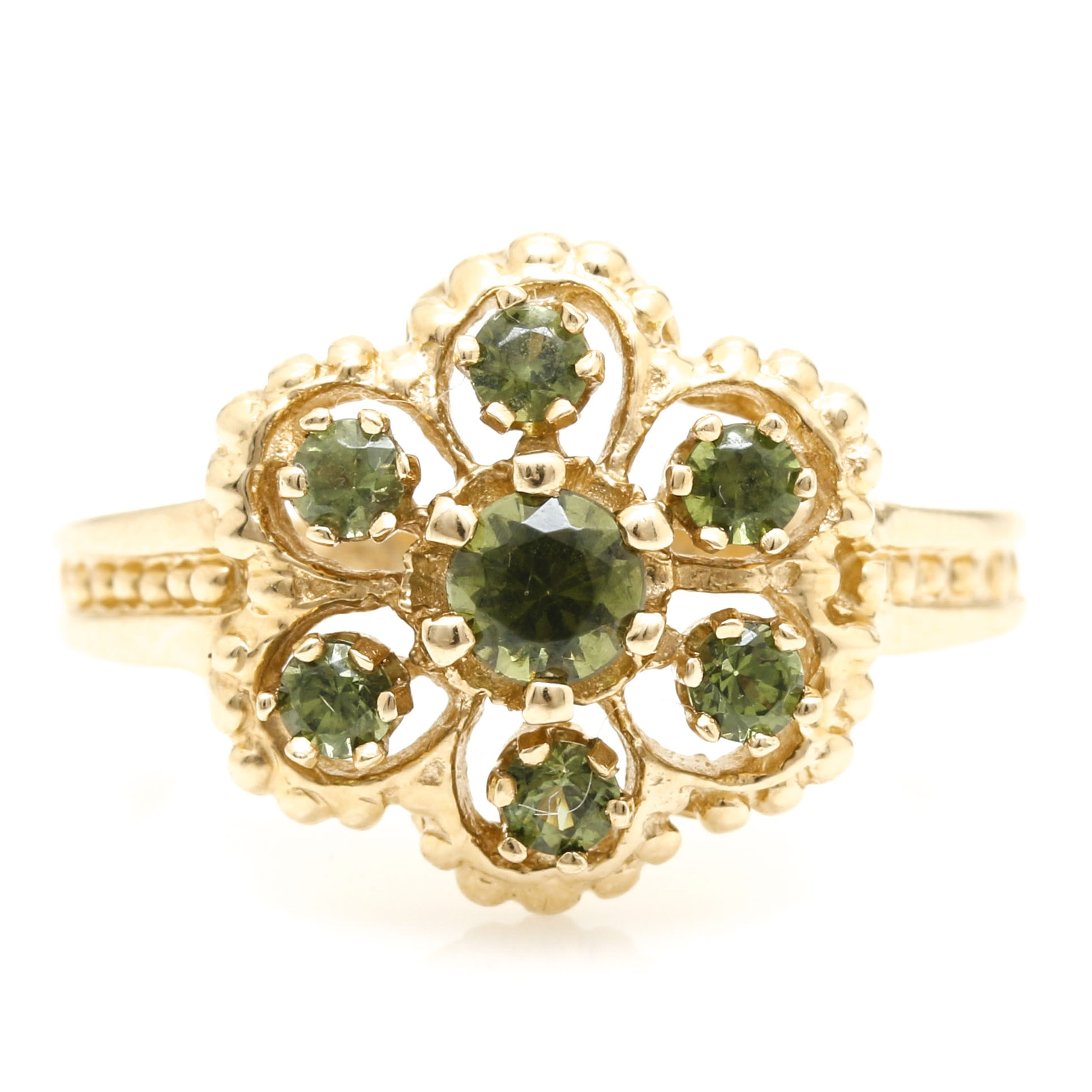 14K Yellow Gold Idocrase Ring