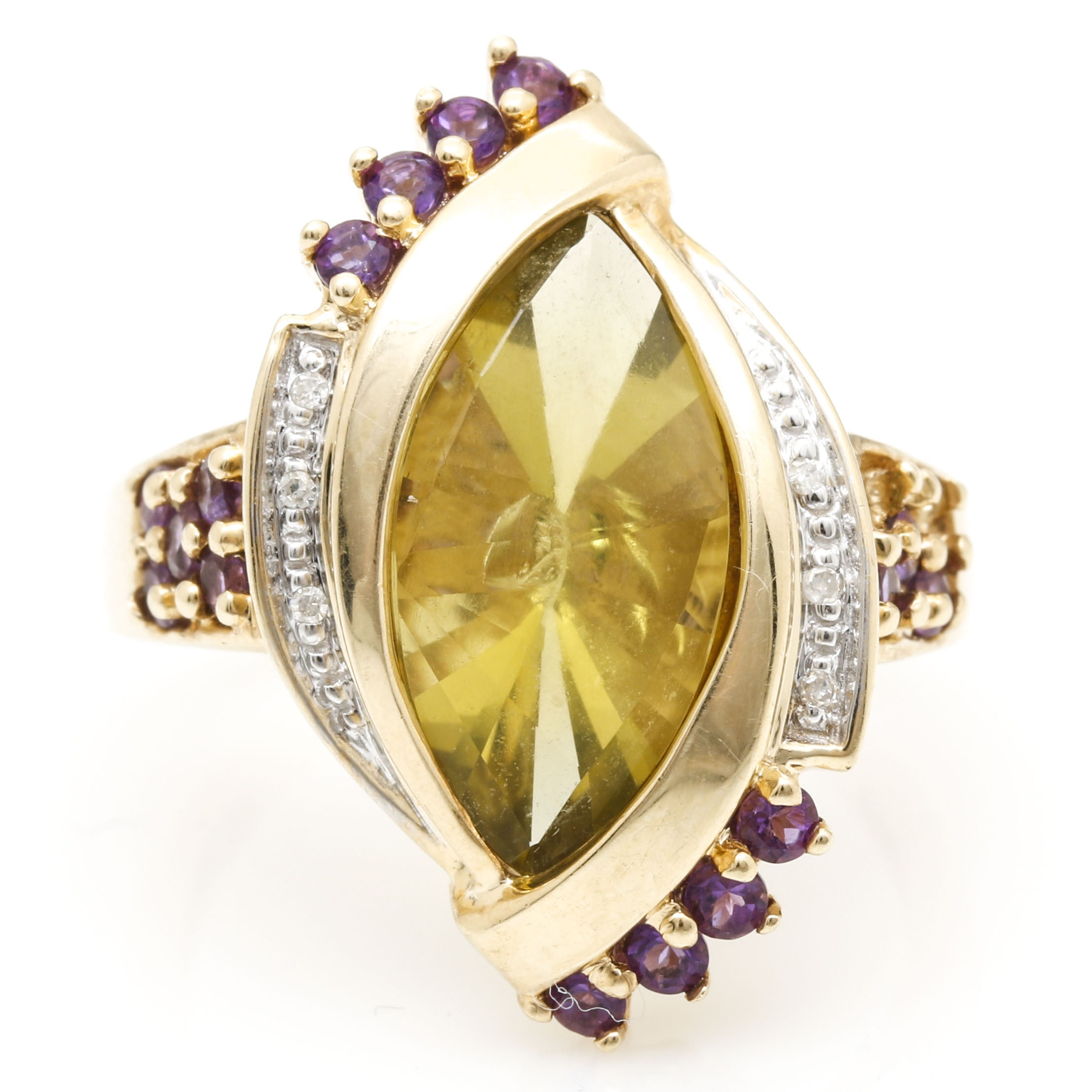 10K Yellow Gold Citrine, Amethyst, and Diamond Ring