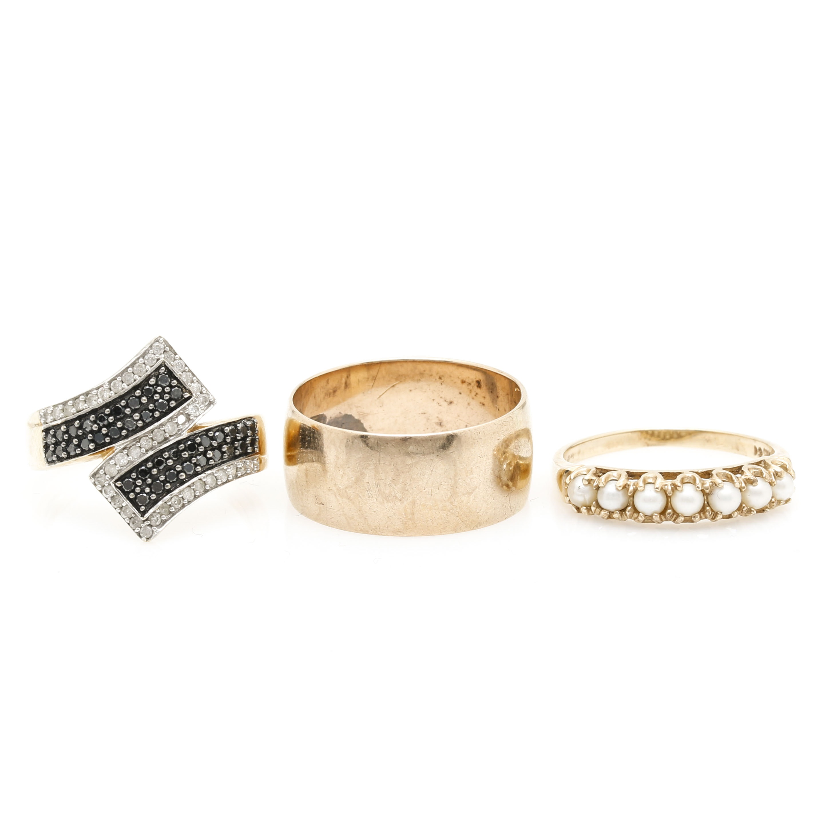10K Yellow Gold Rings Including Diamonds and Pearls