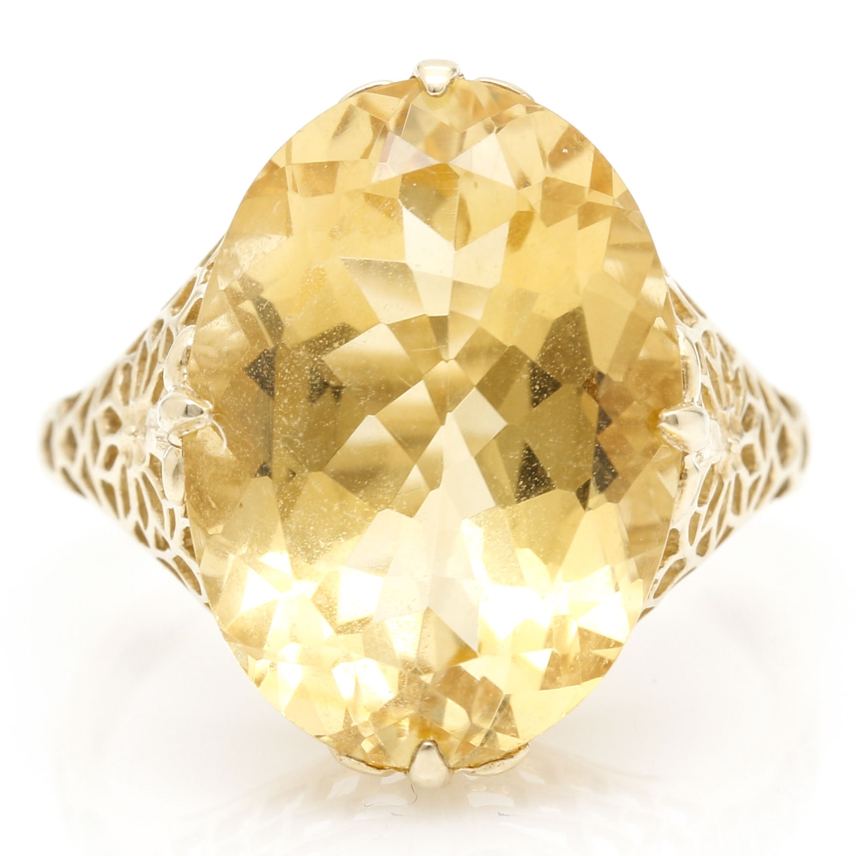 10K Yellow Gold Solitaire Citrine Ring