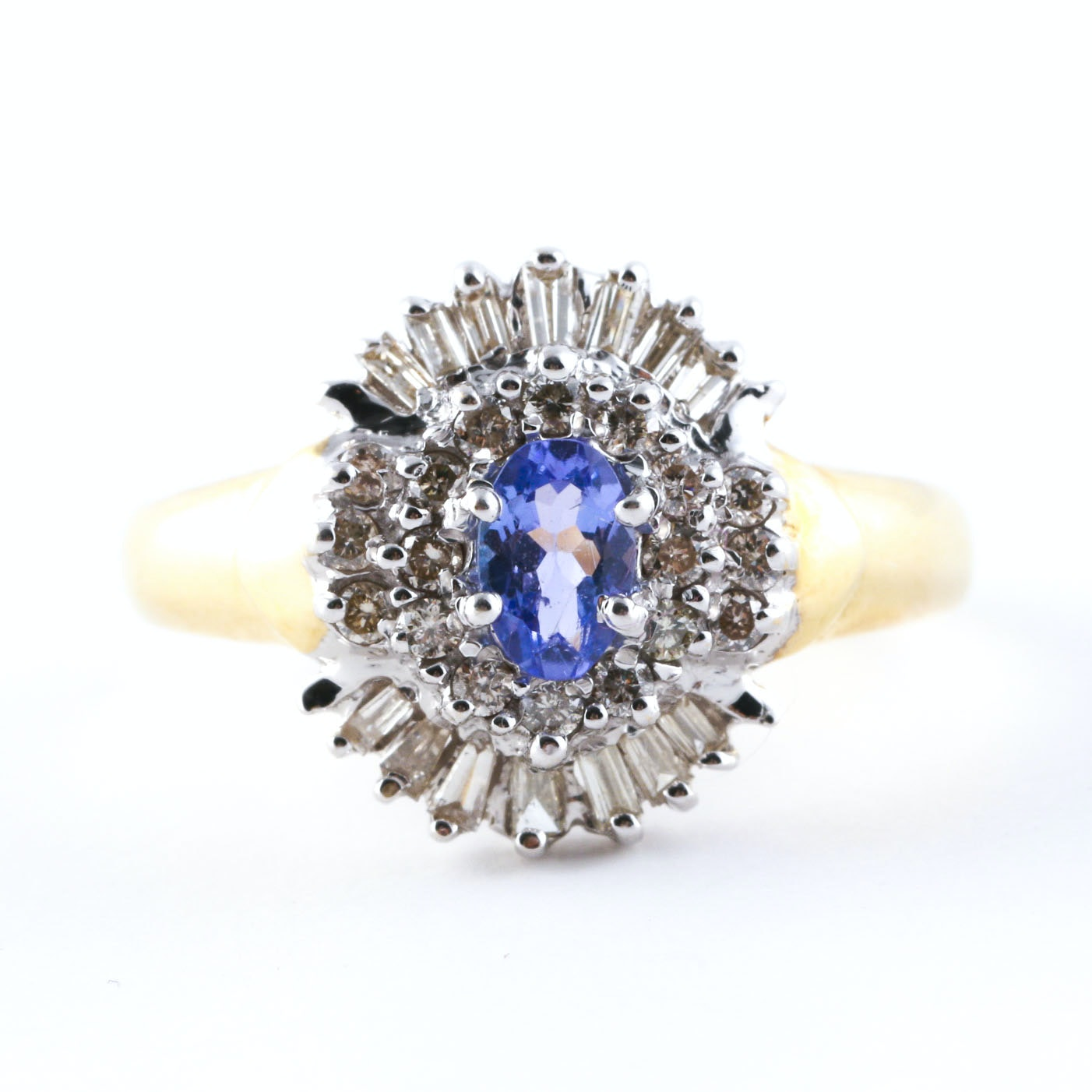 14K Two Tone Gold Tanzanite and Diamond Ring