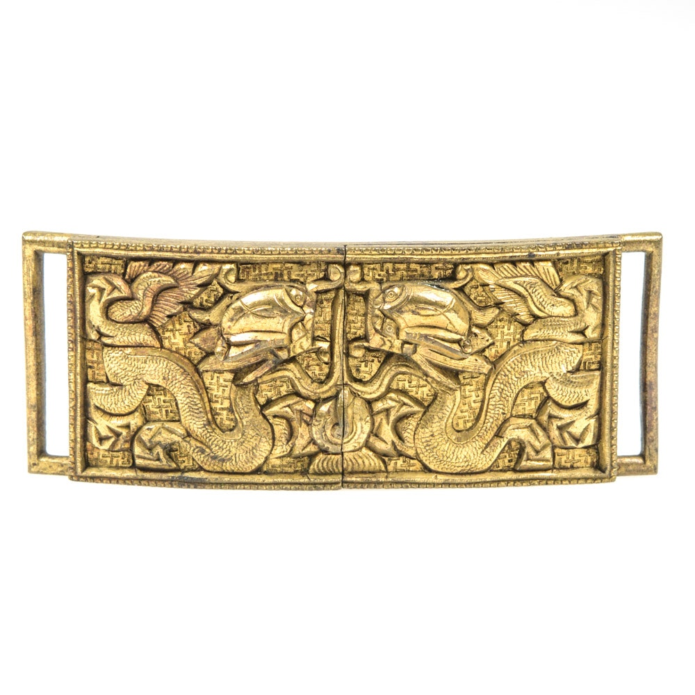 Antique Chinese Brass Dragon Motif Buckle