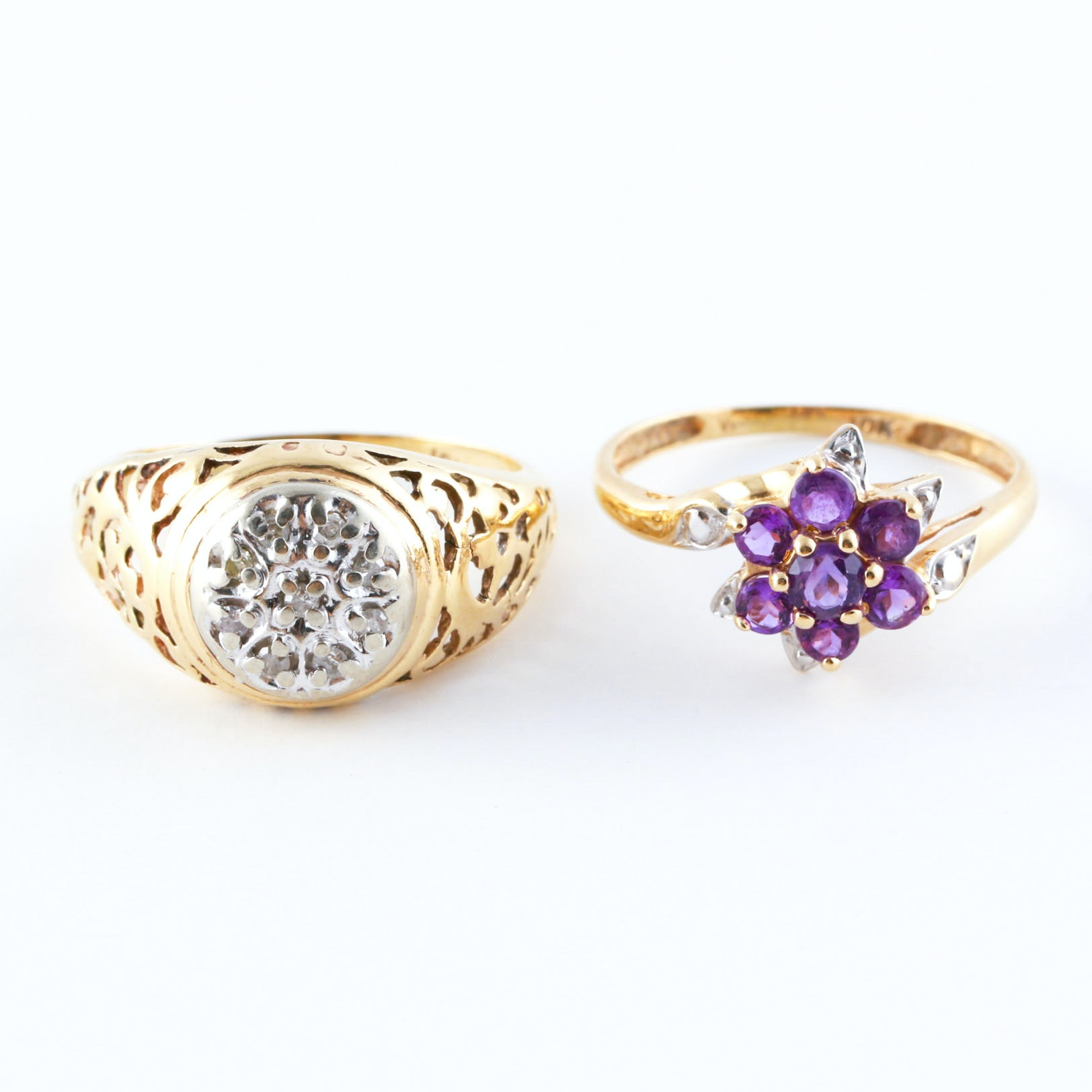 10K Yellow Gold Amethyst and Diamond Rings