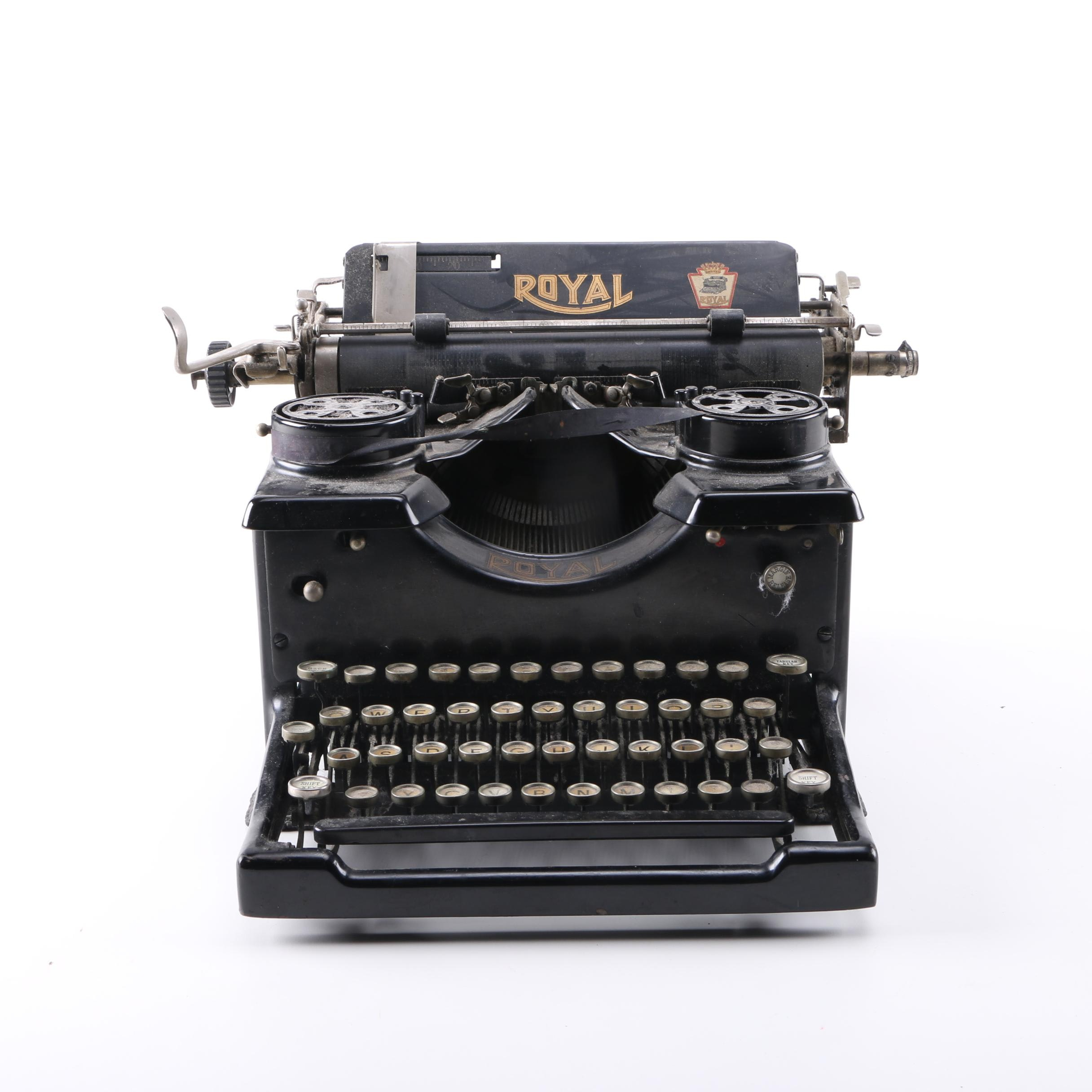 Vintage Royal Beveled Side Glass Typewriter