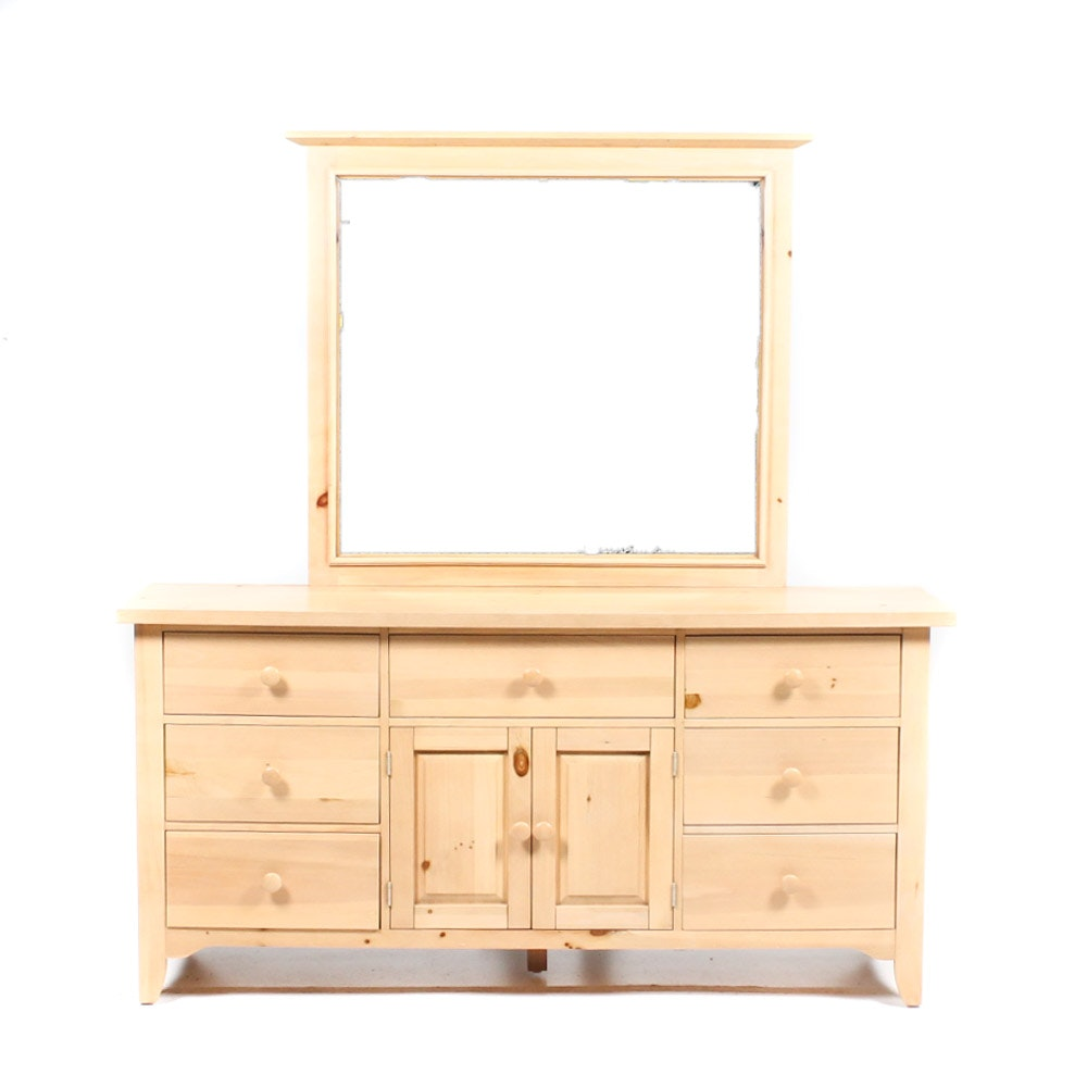 Broyhill Natural Pine Shaker Style Dresser and Mirror