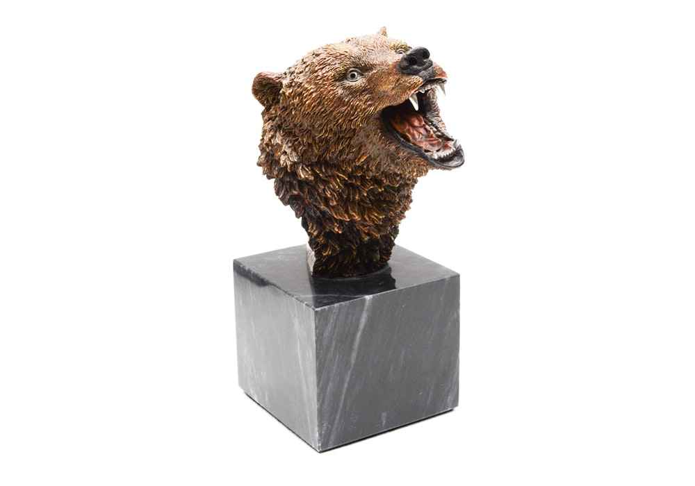 """Kitty Cantrell Limited Edition Mixed Media Grizz;ly Sculpture """"Silvertip"""""""