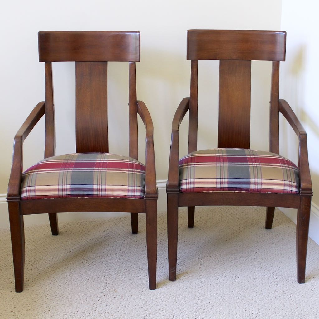 Two David A. Miller Wood Arm Chairs with Upholstered Seats