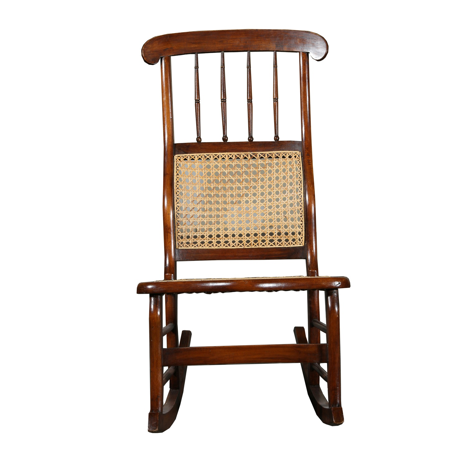Vintage Rocking Chair with Wicker Seat