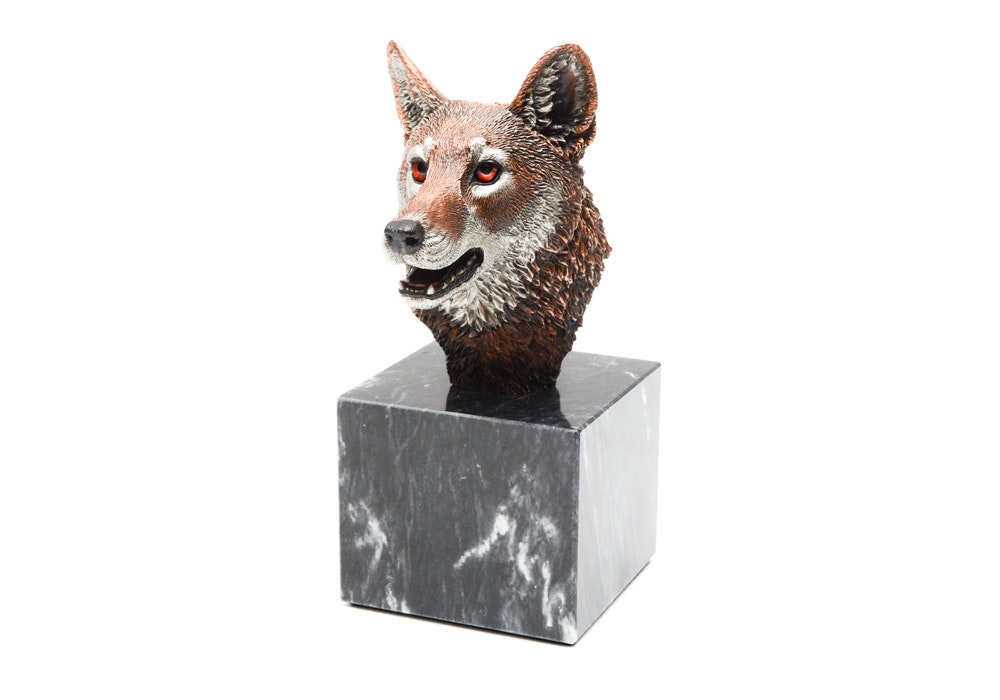 "Kitty Cantrell Limited Edition Mixed Media Red Wolf Sculpture ""Twilight"""