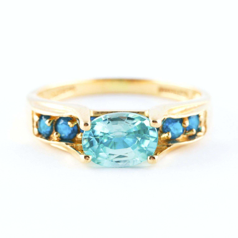 14K Yellow Gold Zircon and Apatite Ring