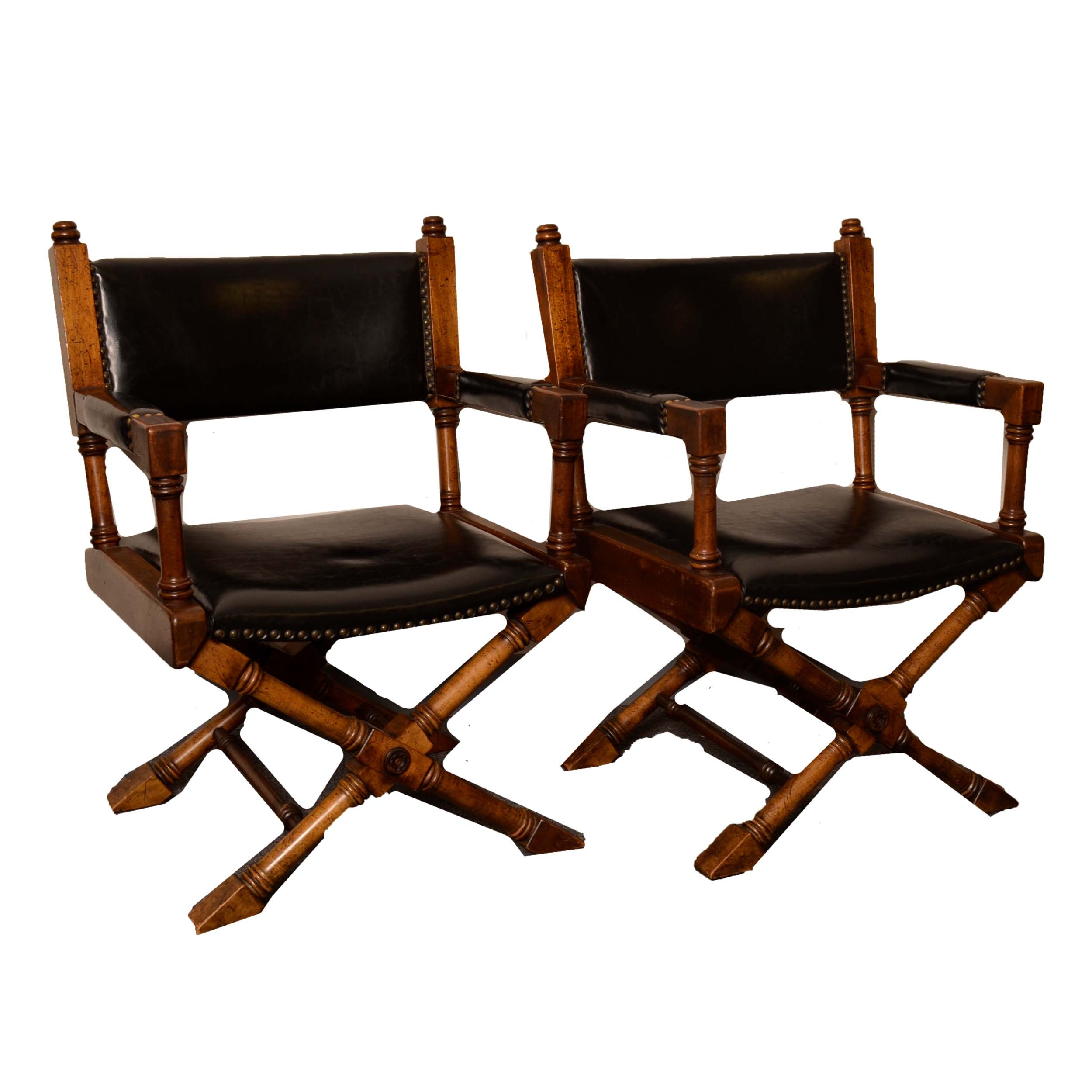Pair of Vintage Campaign Style Captain Chairs