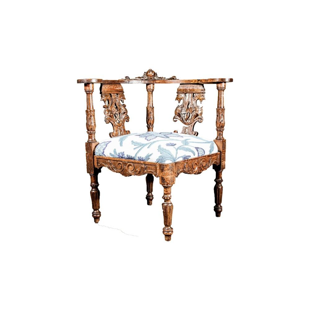 Antique Renaissance Revival Corner Chair