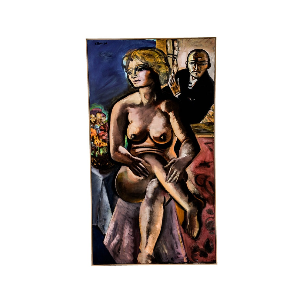 """Edward Boccia Oil Painting on Canvas """"Beckmann Looking At My Model"""""""