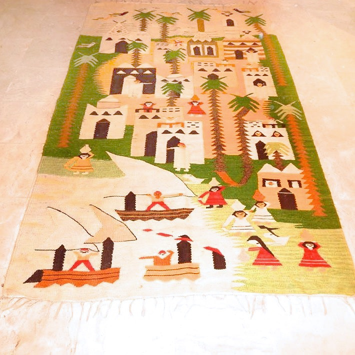 Handwoven Mexican Flat Weave Pictorial Area Rug