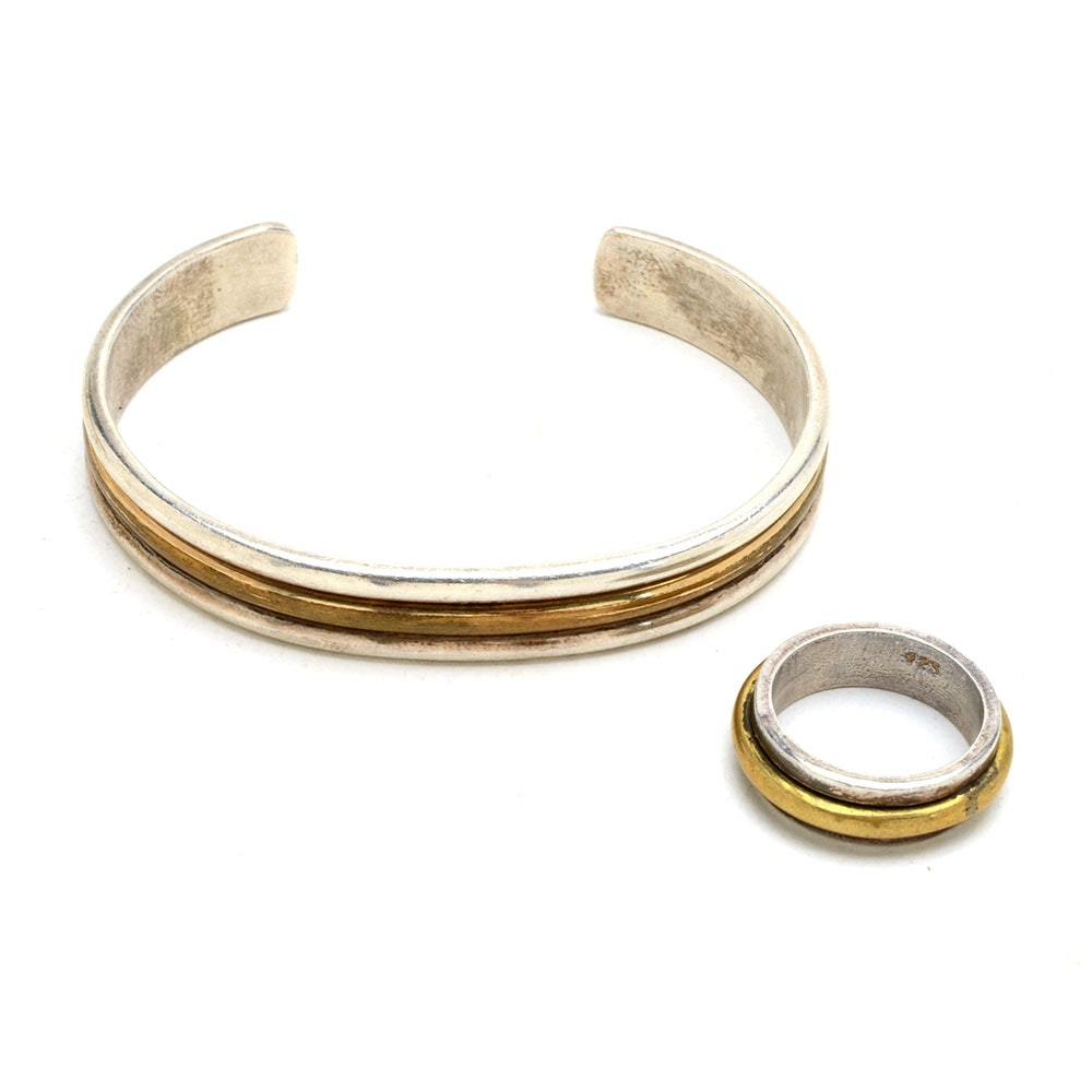 Daniel Mike Sterling Vermeil Bangle and Sterling Ring