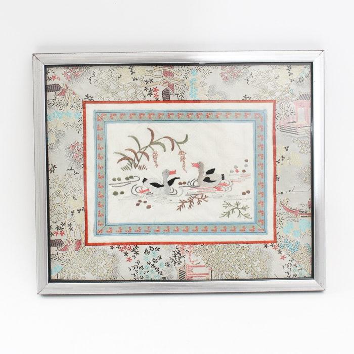 Asian Inspired Framed Silk Textile Art