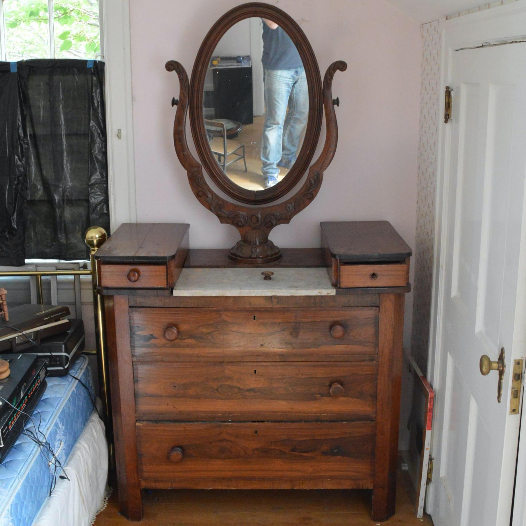 Marble Top Antique Dresser with Rosewood Veneer